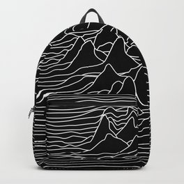 Black and white illustration - sound wave graphic Backpack
