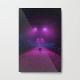 Neon Trainstation Metal Print