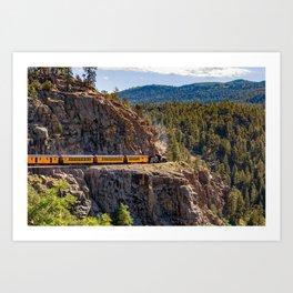 Colorado Mountain Train Around The Bend On The High Line Art Print