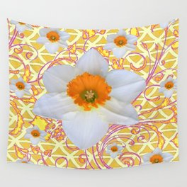 WHITE DAFFODILS DELICATE VIOLET SCROLLS ART  PATTERN Wall Tapestry