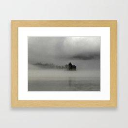 Lighthouse in fog Framed Art Print