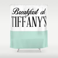 breakfast Shower Curtains featuring Breakfast by LuxuryLivingNYC