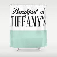 breakfast club Shower Curtains featuring Breakfast by LuxuryLivingNYC