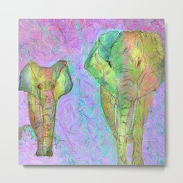 Colored elephants Metal Print