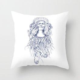 Sea Posse V - Queen, Navy Print Throw Pillow