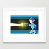 mega man Framed Art Prints featuring Mega Man by Kyra Draws