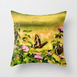 Three Giant Swallowtails - Monet Style Throw Pillow