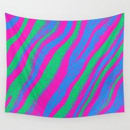 Polysexual Pride Diagonal Furry Wavy Stripes Wall Tapestry