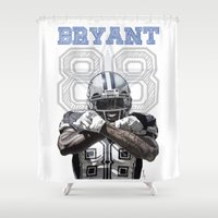 nfl Shower Curtains featuring Dez Bryant - watercolor by Sergio Navarrete