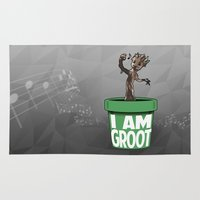 groot Area & Throw Rugs featuring Baby Groot by Variable