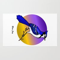 jay fleck Area & Throw Rugs featuring BLUE JAY by SCREAMNJIMMY