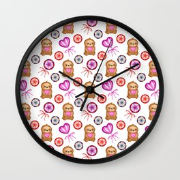 happy little pink baby sloths holding pink hearts. Sweet vintage retro lollipops. Cute pattern Wall Clock