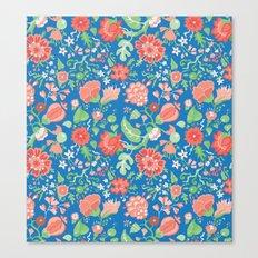 Orange and Blue Flowers Canvas Print