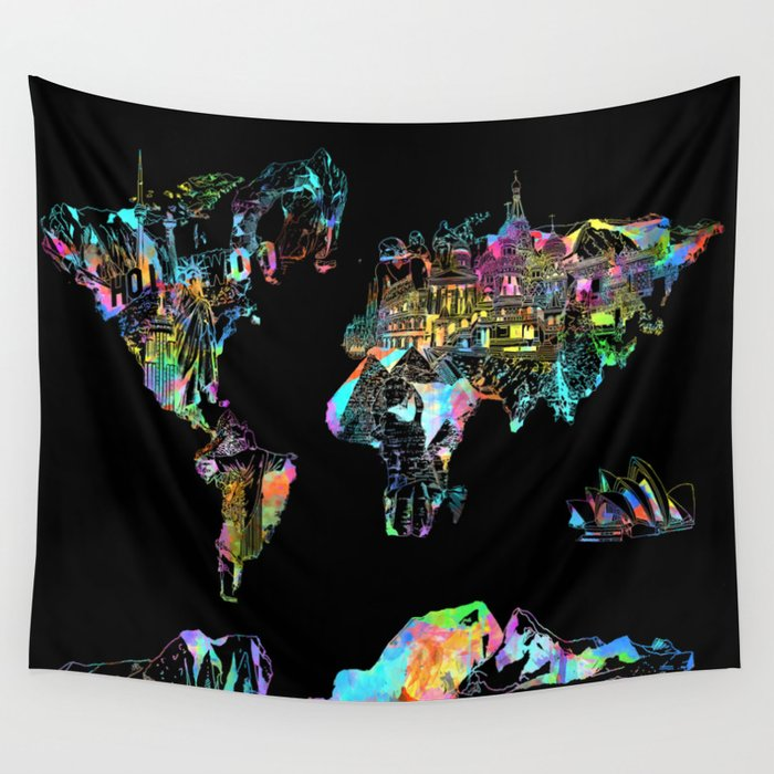 World map landmarks collage wall tapestry by bekimart society6 world map landmarks collage wall tapestry gumiabroncs Image collections
