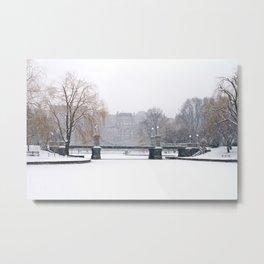 Snow falling in a city park, Public Garden, Boston Metal Print