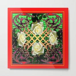 RED ORNATE WHITE ROSE TAPESTRY ART Metal Print
