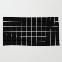 Grid Pattern Line Stripe Black and White Minimalist Geometric Stripes Lines Beach Towel