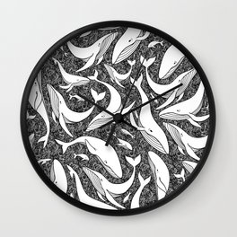 A school of whales - black and white Wall Clock