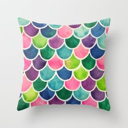This Mermaid Life Bright by Andrea Throw Pillow