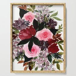 Burgundy Rose Flower Bouquet Serving Tray