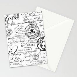 Vintage handwriting black and white Stationery Cards