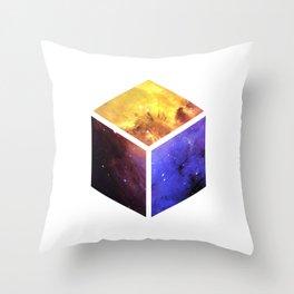 Nebula Cube - White Throw Pillow