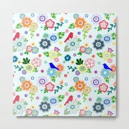 Whimsical Spring Flowers in Light Blue Metal Print