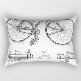 Bicycle Patent - Cyclling Art - Black And White Rectangular Pillow