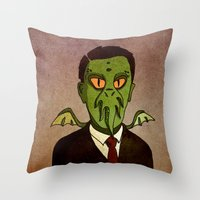 lovecraft Throw Pillows featuring Prophets of Fiction - H.P. Lovecraft /Cthulhu by niles yosira