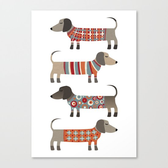 Sausage Dogs in Sweaters Canvas Print