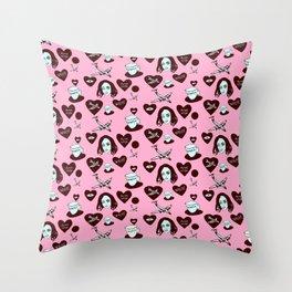 aspri petra white stone heart kalimera pink Throw Pillow