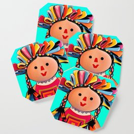 Mexican Maria Doll (turquoise) Coaster