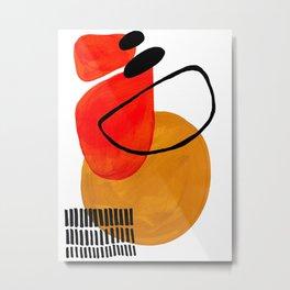 Mid Century Modern Abstract Vintage Pop Art Space Age Pattern Orange Yellow Black Orbit Accent Metal Print