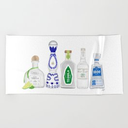 Tequila Bottles Illustration Beach Towel