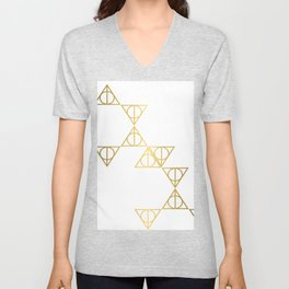Deathly hallows golden pattern Unisex V-Neck