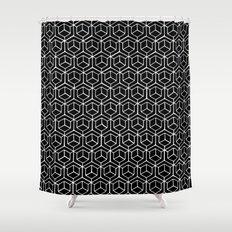 Hand Drawn Hypercube Black Shower Curtain