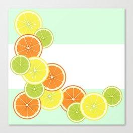 Citrus Fruits Mint Green Canvas Print