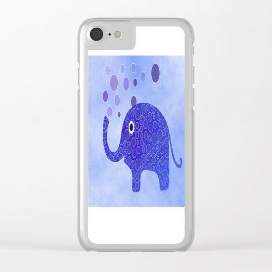 Blue Elephant Blowing Bubbles Clear iPhone Case