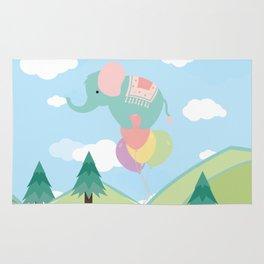 Elephant and Balloons, nursery decor , Rug
