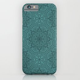 Teal Lace Texture Goth Pattern iPhone Case