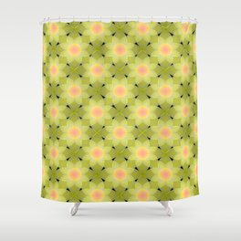 Green and yellow floral pattern. Shower Curtain