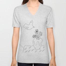 Spring Black&White Still Life Flying Dove & Vase of Flowers Unisex V-Neck