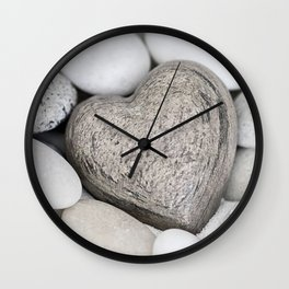 Stone Heart and pebble greige tones Wall Clock