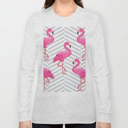 Flamingo with Cross Pattern Background Long Sleeve T-shirt