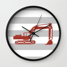 Red Excavator Wall Clock