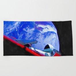Tesla's Starman Beach Towel