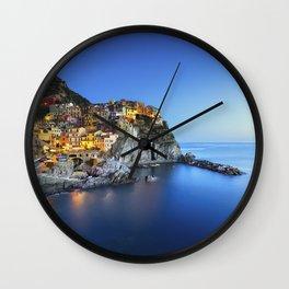 Manarola village blue hour. Cinque Terre, Italy Wall Clock