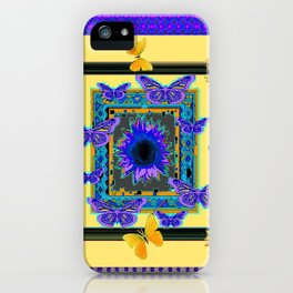 PURPLE BUTTERFLIES SUNFLOWERS MODERN ART iPhone Case