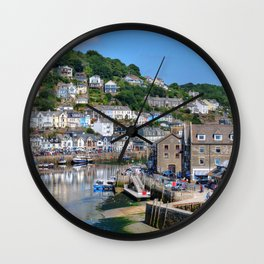 England Looe river Cities Building Rivers Houses Wall Clock