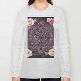Mandala Night Rose Gold Garden Pink Black Yellow Long Sleeve T-shirt
